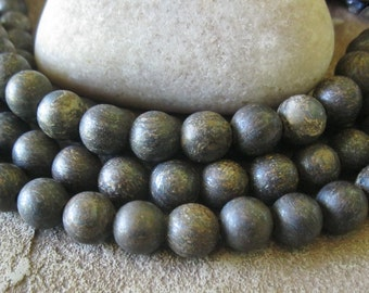 Matte Bronzite Big Hole Bead 10MM Round Fits Leather Cord 20 beads