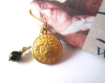 WEST POINT vintage button BOOKMARK, Czech black & gold glass bead dangle