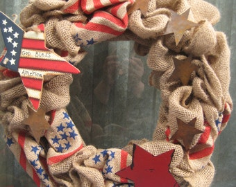 Ready to Ship! Patriotic Burlap Wreath/4th of July Front Door Wreath/ Election Year Presidential Wreath/Shabby Burlap Wreath