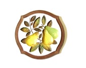 Ripe Bartlett Pear Plaque Luscious Yellow Fruit Chalkware Wall Art 70's Retro Kitchen Decor