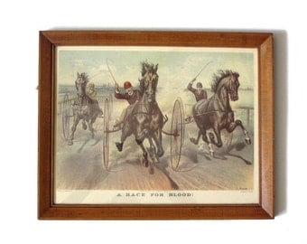 "Currier & Ives ""A Race For Blood"" Buggy Racing Americana Framed Color Art Print Gift for Horse Racing Fan"