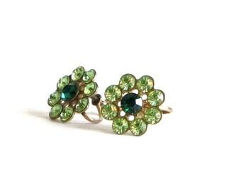 Vintage Peridot Green Rhinestone Flower Earrings Mid Century Sparkle Screw On Ear Jewelry Greenery