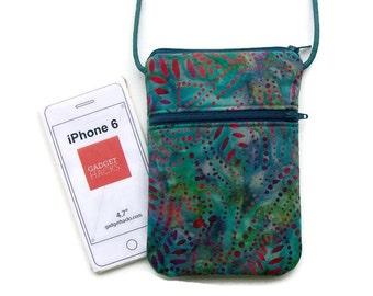 Smartphone Purse, iphone Crossbody, Small Purse, Hipster, Batik Fabric