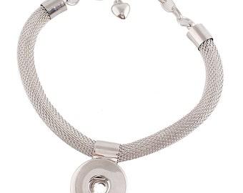 "1 Mesh Bracelet - 7.25"" FITS 18MM Candy Snap Charm Jewelry Silver Tone KC0648 Cj0614"