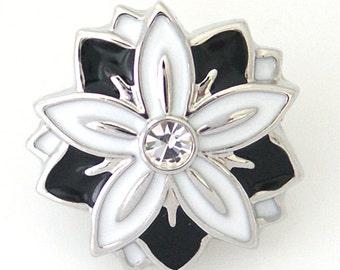 1 PC 18MM Black White Flower Rhinestone Silver Candy Snap Charm ds5003 CC0952