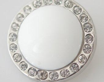 1 PC 18MM White Lampwork Rhinestone Silver Candy Snap Charm kb3762 CC0968
