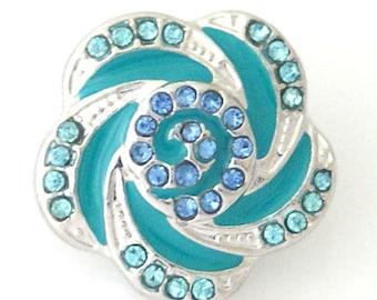 1 PC 18MM Blue Swirl Rhinestone Silver Candy Snap Charm kb8150 CC1005