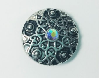 1 PC 18MM White Rhinestones Silver Candy Snap Charm Limited Edition CC1070