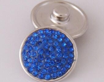1 PC 18MM Blue Rhinestone Silver Snap Candy Charm KB2301 Cc1149