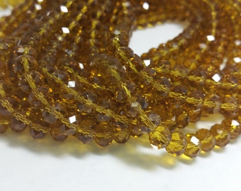 1 Bead Strand - 6x8mm Yellow Rondelle Glass Crystal Beads BD0009