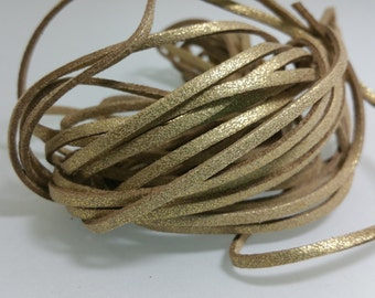 5 YARDS - 15 FEET Metallic Light Gold Tan Faux Suede Cord Leather Lace Ribbon Soft 3mm x 1.5mm #27