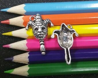 3 PCS - Mardi Gras Mask on Stick New Orleans Louisiana Silver Charm Pendant C1234