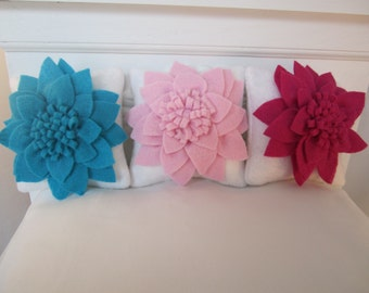 "4"" flower pillows for 18"" size doll bedding choose turquoise pink or fushia or all three RTS"