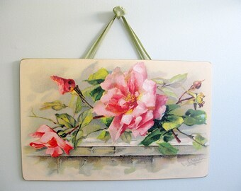 Vintage Pink Roses Wall Picture Board Catherine Klein Reproduction 16X10 Victorian Romantic Shabby Chic Cottage French Farmhouse Style Decor