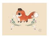 Art Print - First Day of Fall - Cute Fox Illustration - 8x10