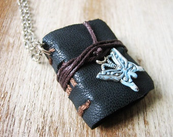 Book necklace jewelry mini book leather hand stitched journal necklace for women  eco friendly butterfly  jewelry small tiny sewn book
