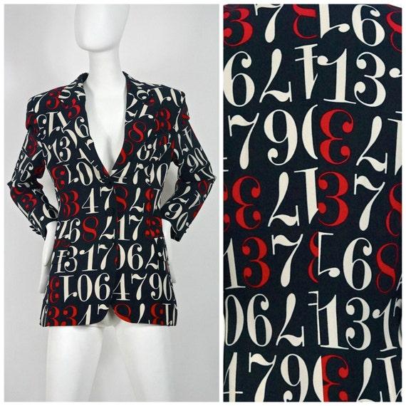 Vintage MOSCHINO Coloured Number Blazer Jacket