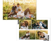 INSTANT DOWNLOAD - Christmas Holiday Card Photoshop template - E1221