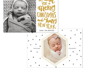 INSTANT DOWNLOAD - Christmas Holiday Card Photoshop template - e1218