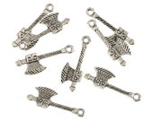 Ax Charms, Antique Silver Tone 10 Charms - 27 x 10 mm - ts802