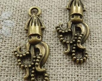 3 Squid Charms, Antique Bronze 25 x 10 mm U.S Seller - bz415