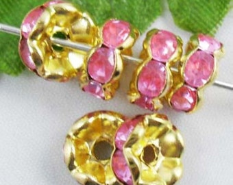 20 Pink Rhinestone Beads, Spacer Beads, Gold Plated Wavy Edge 8 mm U.S Seller - sp069