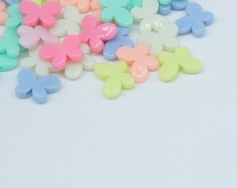 Butterfly Spacer Beads color mix 17 x 13 mm Plastic / Acrylic 24 pcs -  pa150