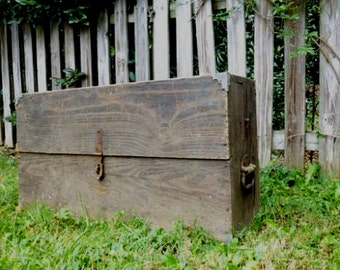 Old Carpenters Wooden Tool Box,  Handmade Tool Chest