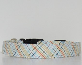 Plaid Tan Blue Red Cream Dog Collar Wedding Accessories Made to Order
