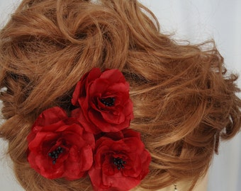Wedding Hair Flowers, Red Black Roses, Set of 3, Mini Hair Flowers,Wedding Accessories, REX15-346