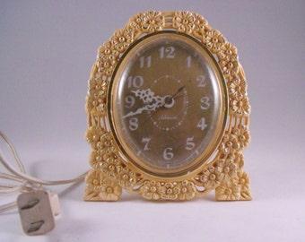 Vintage Working Sunbeam Alarm Clock Flowers Horlage Electrique Ladies Dainty