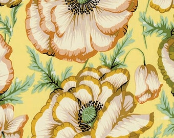 VINTAGE - 1/2 Yard Kaffe Fassett Collective Fabric - 100% Cotton Quilt Fabric - Phillip Jacobs - Banded Poppy - Butter