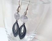 Dangle Earrings, Gray Cloudy Quartz, Semiprecious, Gift for her, Sterling silver, Jewelry