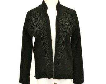 50's Vintage Black Beaded Cardigan Sweater, 1950's Beaded Sweater, Black Cashmere Cardigan
