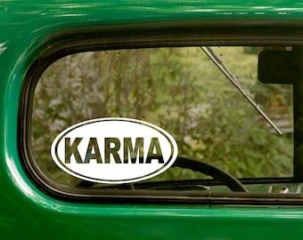 Oval Karma Decal, Car Decal, Buddhism Religion Sticker, Euro Style Decal, Laptop Sticker, Oval Sticker, Bumper, Vinyl Decal, Car Sticker