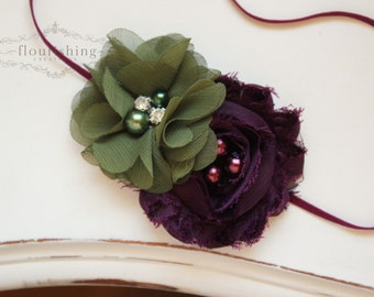 Plum and Olive headband, purple headbands, newborn headbands, fall headbands, rosette headbands, photography prop