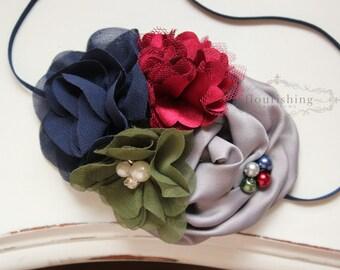 Navy, Burgundy, Grey headband, navy headbands, newborn headbands, fall headbands, photography prop, olive headbands