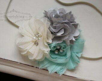 Mint, Ivory and Silver  headband, mint flower headbands, ivory headbands, baby headbands, newborn headbands, photography prop