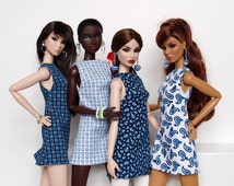 A-silhouette dress for Poppy Parker, Nu face, Barbie model Muse (Marine print and more)