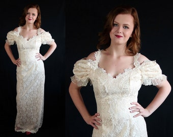 80s Loralie Vintage Wedding Dress Off White Cocktail Party Old Hollywood