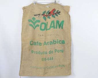 Burlap Coffee Bag Coffee Beans Olam Coffee Gunny Sack Cafe Arabica Peru Advertising
