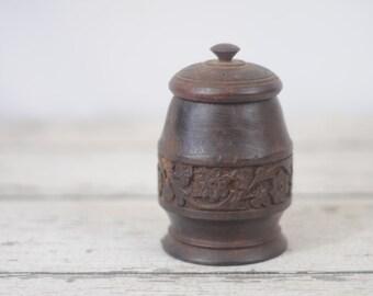 Beautiful Hand Turned Wood Vase Jar Bowl With Lid