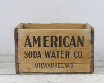 Antique/Vintage Wood American Soda Water Co Milwaukee WIS. W#ood Soda Crate