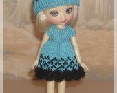 Amelia Thimble Dolls Turquoise and Black Dress and Hat