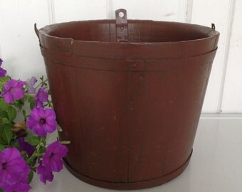 Vintage Wooden Brown Painted Firkin Bucket Pail Primitive Shaker Style Banded Sugar Bucket Missing Handle