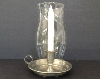 Vintage Garden Pewter Chamber Holder with Glass Globe Candle Holder