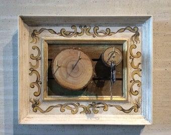 White Key Hanger with Sliced Wood Stumps Wedding Gift Houswarming Gift