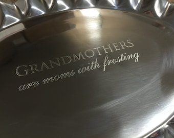 Grandmothers Engraved Scalloped Aluminum Serving Tray, Personalized Silver Tray