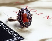 VALENTINES DAY SALE Antique Victorian Bohemian Garnet Halo Ring Cluster Ring Rose Gold Alternative Engagement Ring Promise Ring Unique Engag