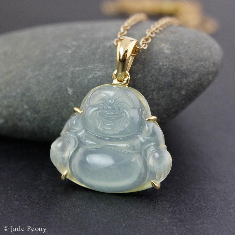 Icy Jadeite Buddha Necklace 18KT Type A Natural Jadeite